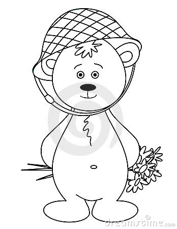 Bear cub in a helmet with a bouquet, monochrome