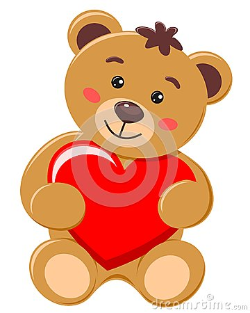 Bear cub holding a heart with love