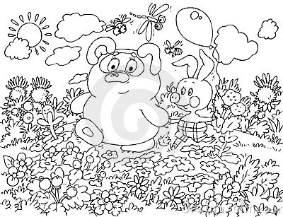 Bear-cub and Piglet walking in the field