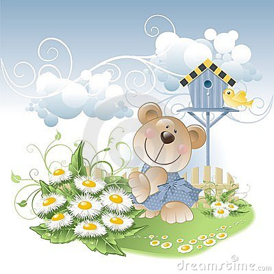 Bear and daisies