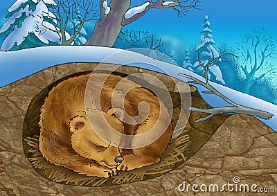 Bear in a den