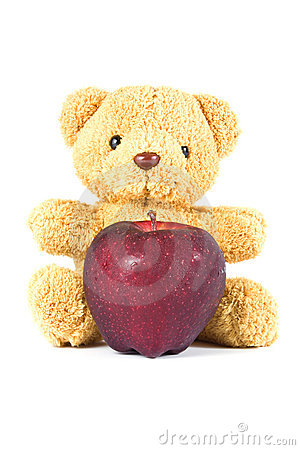 Bear doll give red apple