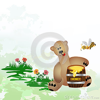 Bear eats honey