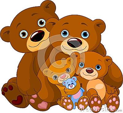 Bear family Vector Illustration