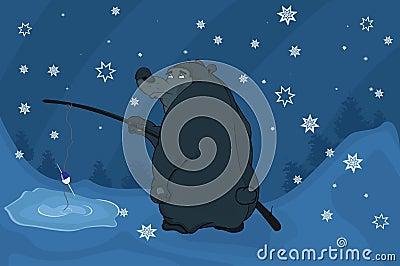 Bear fishing. Cartoon
