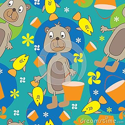 Bear Fishing Seamless Pattern_eps
