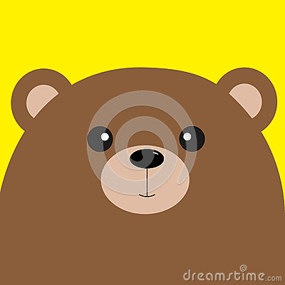 Free Bear Grizzly Big Head. Cute Cartoon Character. Forest Baby Animal Collection. Yellow Background. . Flat Royalty Free Stock Photo - 78904235