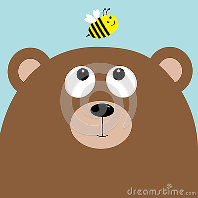 Free Bear Grizzly Big Head Looking At Honey Bee Insect. Cute Cartoon Character. Forest Baby Animal Collection. Blue Sky Background.  Stock Photography - 78403422