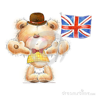 Cute Teddy bear with the  UK flag in the hat. Back