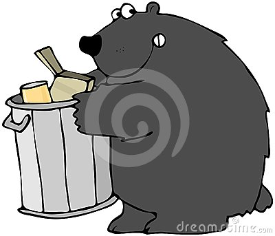 Bear Holding A Garbage Can