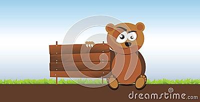 Bear Holding a Signboard
