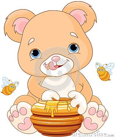 Free Bear Holds Honey Jar Royalty Free Stock Photography - 60465347