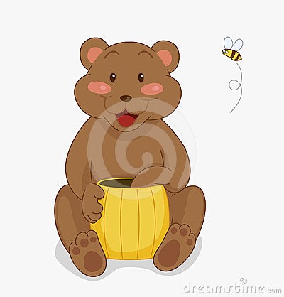 Bear with honey and bee