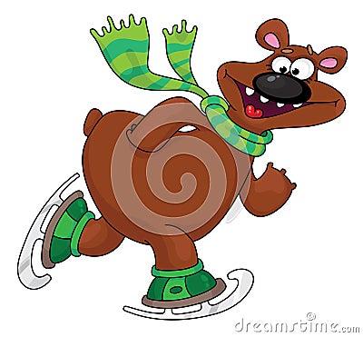 Bear on ice skates