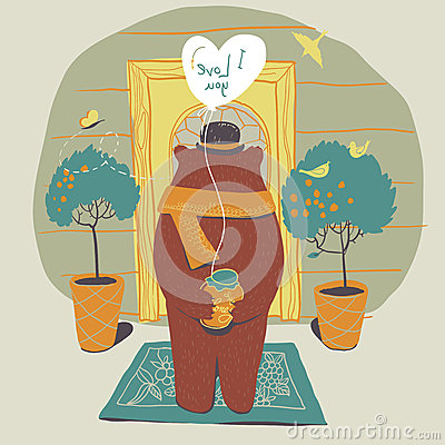 Free Bear In Love On The Doorstep Of His Beloved. Royalty Free Stock Photos - 40087218