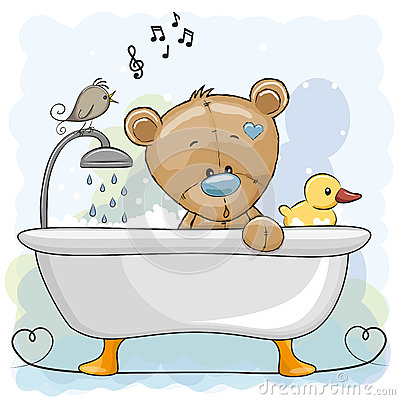 Free Bear In The Bathroom Stock Image - 91721601