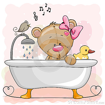 Free Bear In The Bathroom Royalty Free Stock Photography - 91721627
