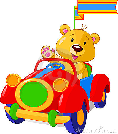 Free Bear In Toy Car Royalty Free Stock Images - 10038509