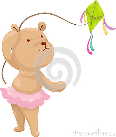 Bear with a kite vector