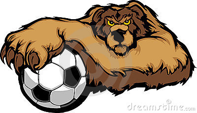 Bear Mascot with Soccer Ball Illustration