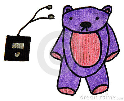 Bear and mp3 player