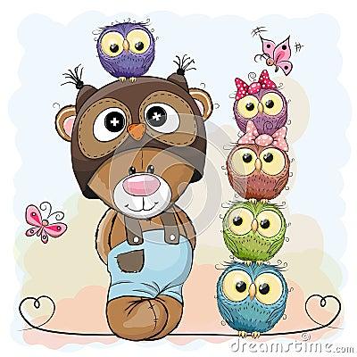 Bear and Owls Vector Illustration
