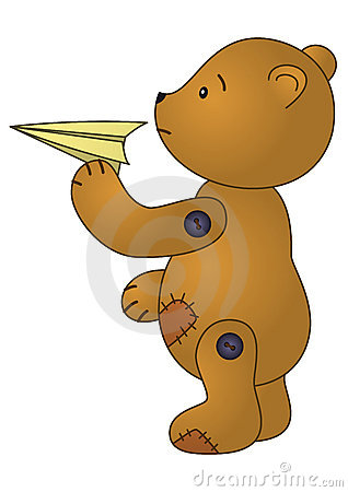 Bear with paper plane
