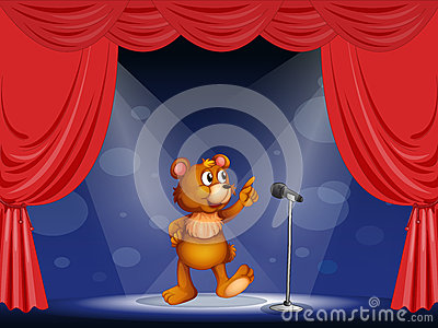 A bear performing on the stage