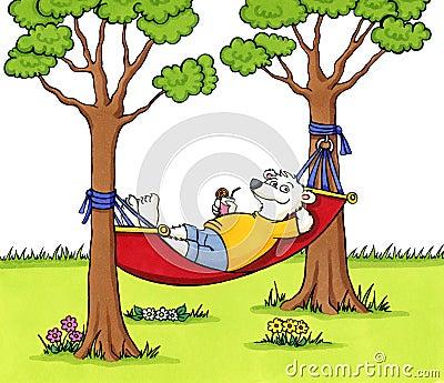 Bear relaxing in a hammock