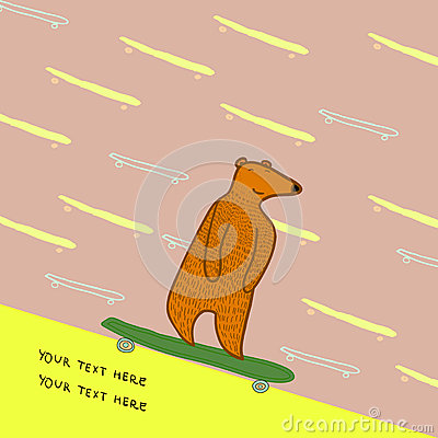 Bear skateboarding