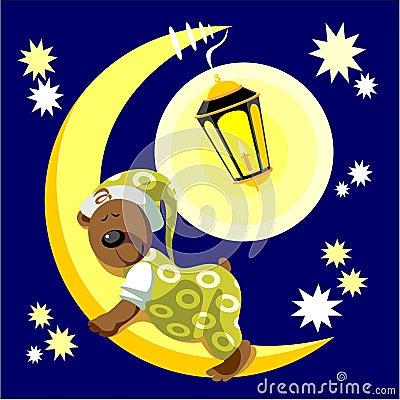 Free Bear Sleep On Moon Color 17 Stock Photos - 11150883
