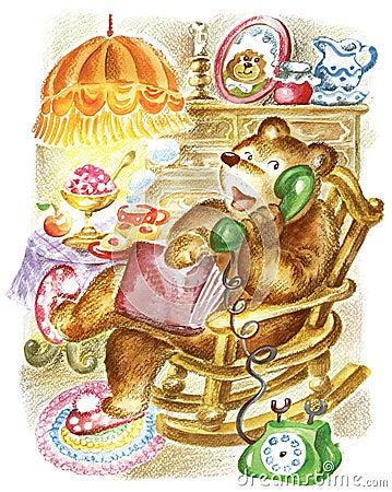 Bear speaks on phone.