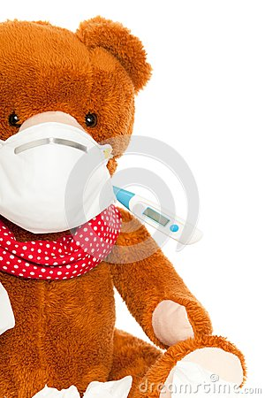 Bear with thermometer and mask