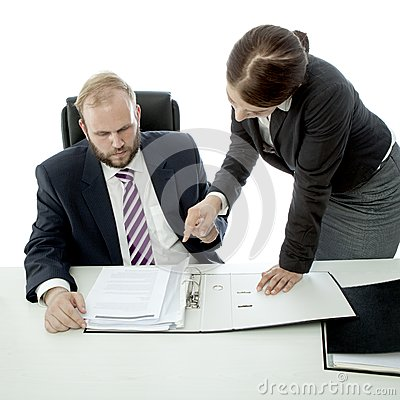 Beard business man brunette woman at desk