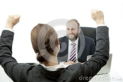 Beard business man brunette woman at desk happy