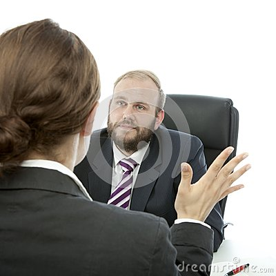 Beard business man brunette woman at desk report