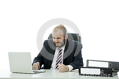 Beard business man is frustrated at desk