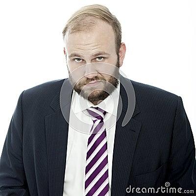 Beard business man is sad