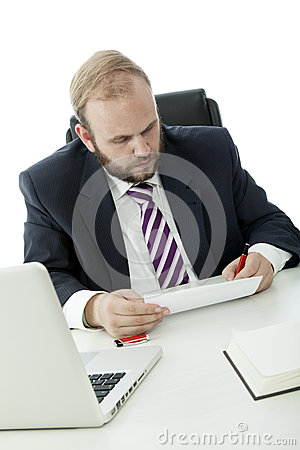 Beard business man sign contract at desk
