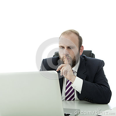 Beard business man sign quiet to person in laptop