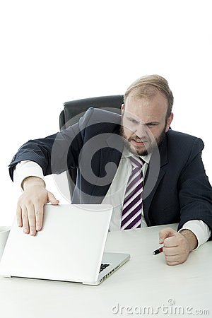 Beard business man want to crash laptop