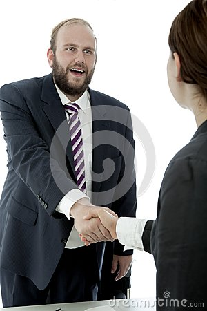 Beard business man and woman handshake