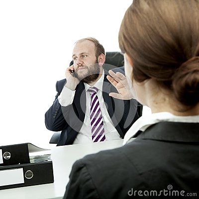 Beard business man and woman sign be quiet