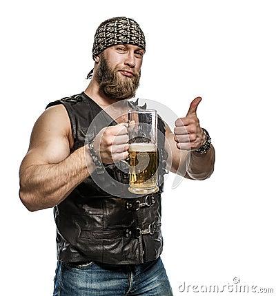 Free Beard Man Drinking Beer From A Beer Mug. Stock Image - 66852801