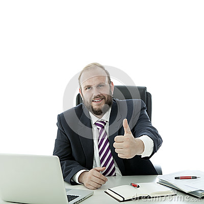 Beard man thumb up at desk