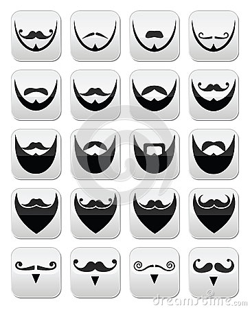 Beard with moustache or mustache  icons set