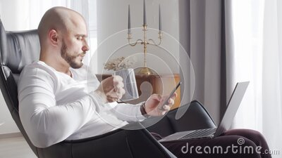 Bearded businessman working at home sitting in armchair and using computer technologies. Business, freelance and stock stock video