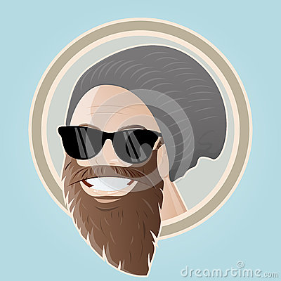 Bearded cartoon man with cap