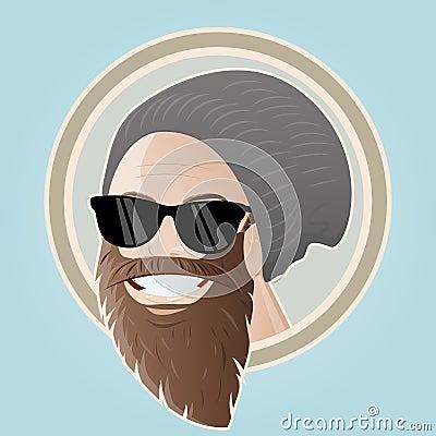 Bearded cartoon man with cap