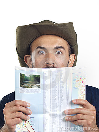 Bearded Hiker with Map